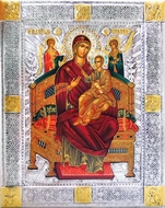 "Virgin Mary Queen of All ""Vsetsaritsa"", Serigraph Icon in Silver / Gold Plated Oklad"