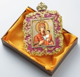 "Virgin Mary ""Quick to Hear"", Square Shaped Ornament Icon, Purple"