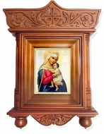 "Virgin Mary ""Refuge of Hopeless"" Icon  in Wood Shrine with Glass"