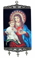 Virgin Mary Sacred Heart & Christ, Textile Art  Tapestry Icon Banner, 17""