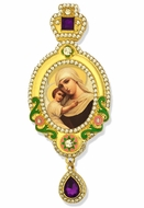 "Virgin Mary ""Seeker of the Perished"",  Jeweled Icon Ornament, Purple Crystals"