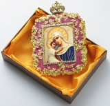 "Virgin Mary ""Seeker of the Perished"", Square Shaped Ornament Icon, Purple"