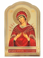 "Virgin Mary ""Seven Swords"",  Wooden Wall Hanging Icon"