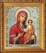 Virgin Mary Smolenskaya,  Framed Orthodox Icon with Crystals & Glass