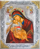 """Virgin Mary """"Sweet Kiss"""",  Serigraph Icon in Silver / Gold Plated Oklad"""