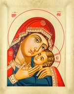 "Virgin Mary ""Sweet Kiss"", Serigraph Orthodox Icon with Stand"