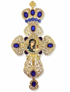 Virgin Mary the Eternal Bloom, Framed Cross-Shaped Icon Ornament