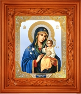 Virgin Mary the Eternal Bloom,  Gold Foil  Orthodox Icon in Wooden Shrine