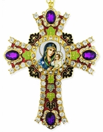 Virgin Mary the Eternal Bloom Icon in  Jeweled Wall Cross