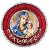 Virgin Mary the Eternal Bloom  Icon in Round Style Frame with Stand