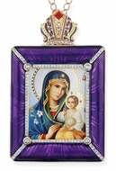 Virgin Mary the Eternal Bloom Icon in Square Style Frame with Stand