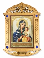 Virgin Mary the Eternal Bloom Icon in Wooden Shrine