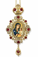 Virgin Mary the Eternal Bloom, Jeweled Icon Ornament / Red Crystals