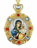 Virgin Mary the Eternal Bloom,  Jeweled  Icon Pendant with Chain