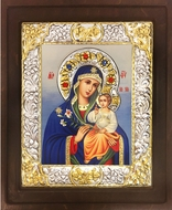 Virgin Mary the Eternal Bloom, Serigraph Icon in Wood / Silver Frame