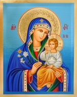 Virgin Mary  the Eternal Bloom, Serigraph Orthodox Icon with Stand