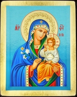 Virgin Mary  the Eternal Bloom, Serigraph  Icon with Stand