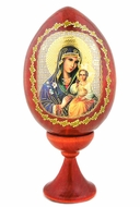 Virgin Mary The Eternal Bloom, Wooden Icon Egg w/Stand