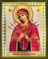 "Virgin Mary ""The Softener of Evil Hearts"", Orthodox Gold Foil Icon"