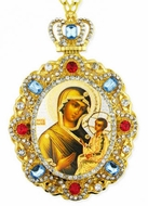 Virgin Mary Tikhvinskaya, Jeweled Icon Pendant with Chain