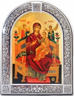 "Virgin Mary ""Vsetsaritsa"", Serigraph Orthodox Framed Icon with Stand"