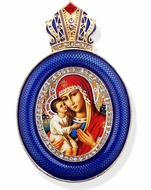Virgin Mary Zirovitskaya, Egg Shape Framed Ornament Icon