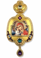 Virgin Mary Zirovitskaya, Enameled Framed Icon Ornament