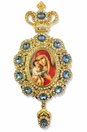 Virgin Mary Zirovitskaya,     Enameled Jeweled Icon Ornament / Blue Crystals