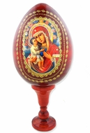 Virgin Mary Zirovitskaya - Flowers,  Icon Wooden Egg with Stand, Red