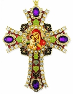 Virgin Mary Zirovitskaya Icon in  Jeweled Wall Cross