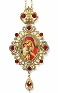 Virgin Mary Zirovitskaya, Jeweled Icon Ornament / Red Crystals