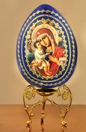 Virgin Mary Zirovitskaya  Wooden Icon Egg With Stand