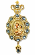Virgin of Jerusalem,    Enameled Jeweled Icon Ornament / Blue Crystals