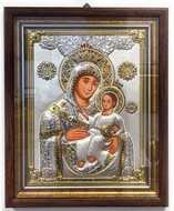 Virgin of Jerusalem,  Hand Decorated Framed Icon with Pearl and Crystals in Silver Riza