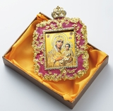 Virgin of Jerusalem, Square Shaped Ornament Icon, Purple
