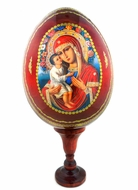Virgin Mary Jirovitskaya, Wood Icon Egg, Large