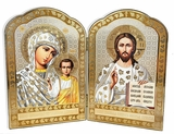 Virgin of Kazan and Christ The Teacher,  Orthodox Icon Diptych