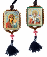 Virgin of Kazan and St. Nicholas, Reversible Beaded Icons on Rope