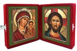 Virgin of Kazan & Christ The Pantocrator,  Icon Diptych in Velvet Case