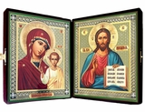 Virgin of Kazan & Christ The Teacher  Diptych in Velvet Case