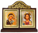 Virgin of Kazan & Christ The Teacher Icons in Wooden Shrine