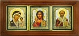 Virgin of Kazan, Christ The Teacher, St Nicholas  Framed Triptych with Glass