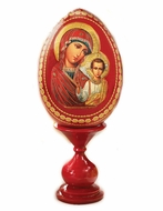 Virgin of Kazan,  Decoupage Icon Egg with Stand, Red