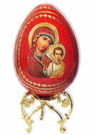 Virgin of Kazan, Decoupage Wooden Egg on Metal Stand
