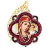 Virgin of Kazan, Enamel Framed Ornament Icon  with Chain & Bow, Red