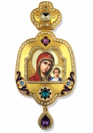 Virgin of Kazan, Enameled Framed Icon Ornament