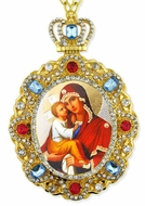Madonna & Child, Jeweled  Icon Pendant with Chain