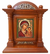 Virgin of Kazan, Kiot  Icon  in Wood Shrine with Glass