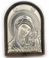 Virgin of Kazan,  Silver Mini Icon with Stand