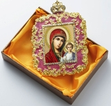 Virgin of Kazan, Square Shaped Ornament Icon, Red